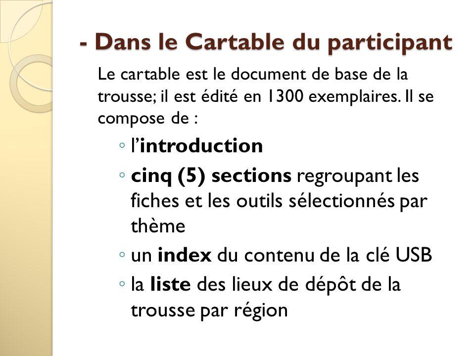 - Dans le Cartable du participant Le cartable est le document de base de la trousse; il est édité en 1300 exemplaires.