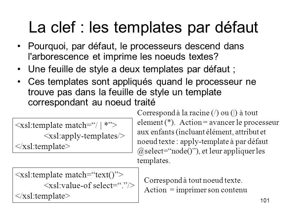101 La clef : les templates par défaut Pourquoi, par défaut, le processeurs descend dans l arborescence et imprime les noeuds textes.