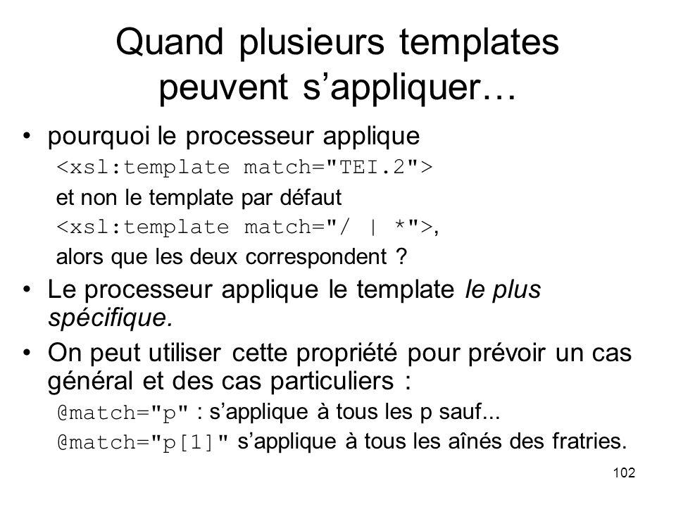 102 Quand plusieurs templates peuvent s'appliquer… pourquoi le processeur applique et non le template par défaut, alors que les deux correspondent .