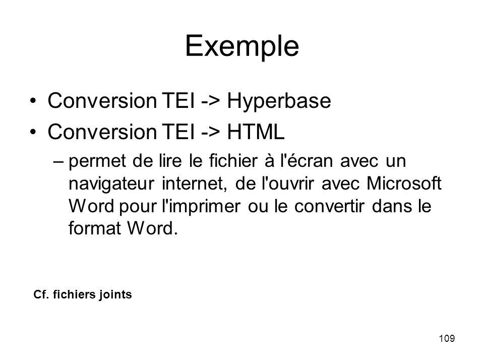 109 Exemple Conversion TEI -> Hyperbase Conversion TEI -> HTML –permet de lire le fichier à l écran avec un navigateur internet, de l ouvrir avec Microsoft Word pour l imprimer ou le convertir dans le format Word.