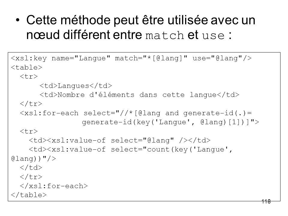 118 Cette méthode peut être utilisée avec un nœud différent entre match et use : Langues Nombre d éléments dans cette langue