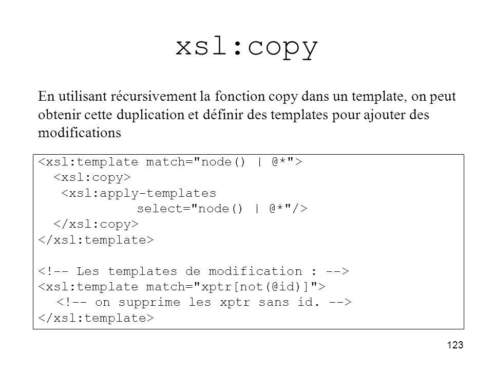 123 xsl:copy <xsl:apply-templates select= node()   @* /> En utilisant récursivement la fonction copy dans un template, on peut obtenir cette duplication et définir des templates pour ajouter des modifications