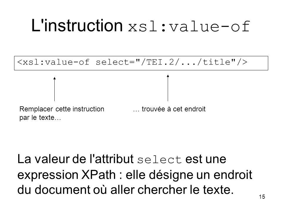 15 L instruction xsl:value-of Remplacer cette instruction par le texte… … trouvée à cet endroit La valeur de l attribut select est une expression XPath : elle désigne un endroit du document où aller chercher le texte.