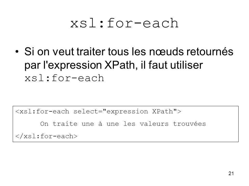 21 xsl:for-each Si on veut traiter tous les nœuds retournés par l expression XPath, il faut utiliser xsl:for-each On traite une à une les valeurs trouvées