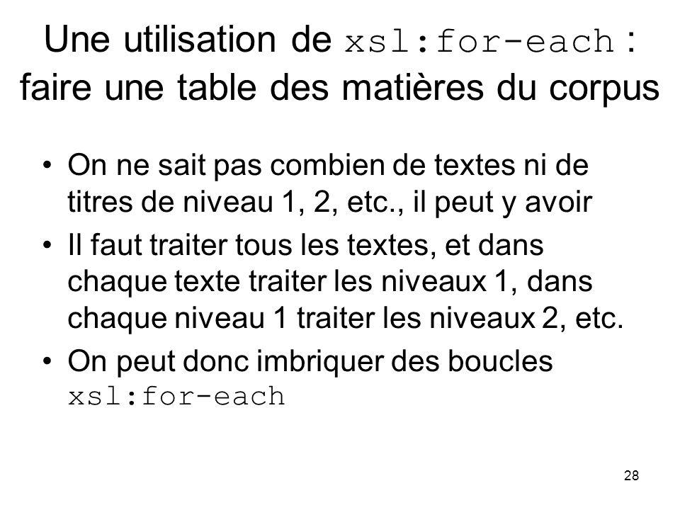 28 Une utilisation de xsl:for-each : faire une table des matières du corpus On ne sait pas combien de textes ni de titres de niveau 1, 2, etc., il peut y avoir Il faut traiter tous les textes, et dans chaque texte traiter les niveaux 1, dans chaque niveau 1 traiter les niveaux 2, etc.
