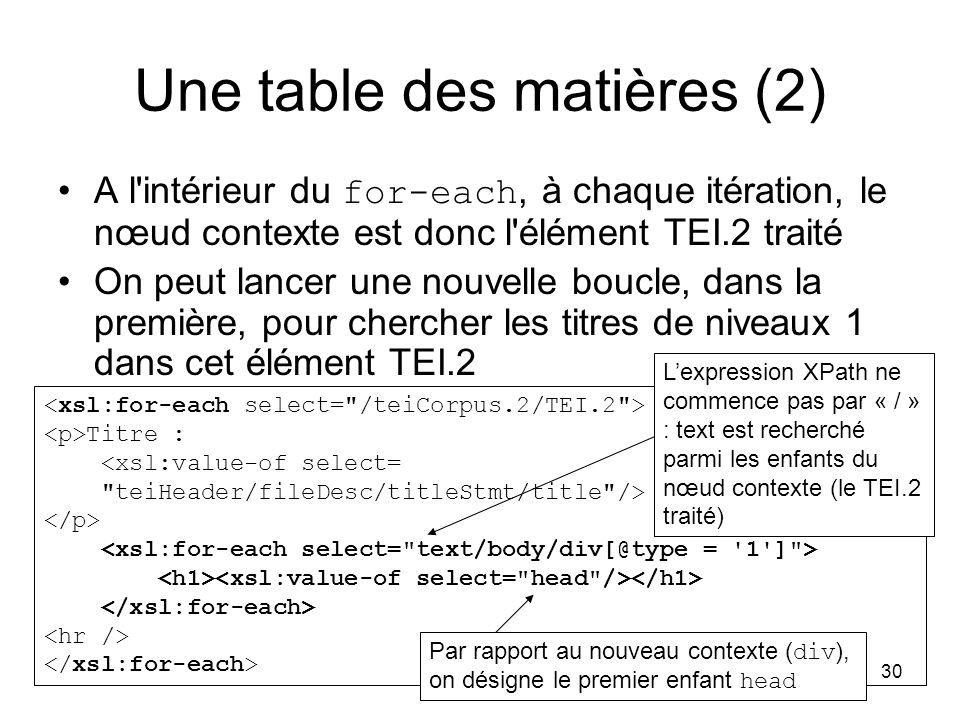 30 Titre : <xsl:value-of select= teiHeader/fileDesc/titleStmt/title /> Une table des matières (2) A l intérieur du for-each, à chaque itération, le nœud contexte est donc l élément TEI.2 traité On peut lancer une nouvelle boucle, dans la première, pour chercher les titres de niveaux 1 dans cet élément TEI.2 Par rapport au nouveau contexte ( div ), on désigne le premier enfant head L'expression XPath ne commence pas par « / » : text est recherché parmi les enfants du nœud contexte (le TEI.2 traité)