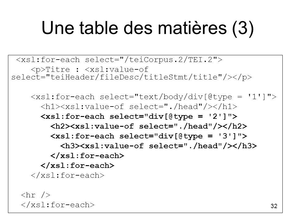 32 Une table des matières (3) Titre :