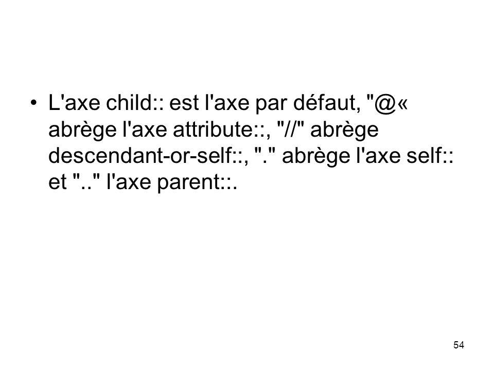 54 L axe child:: est l axe par défaut, @« abrège l axe attribute::, // abrège descendant-or-self::, . abrège l axe self:: et .. l axe parent::.