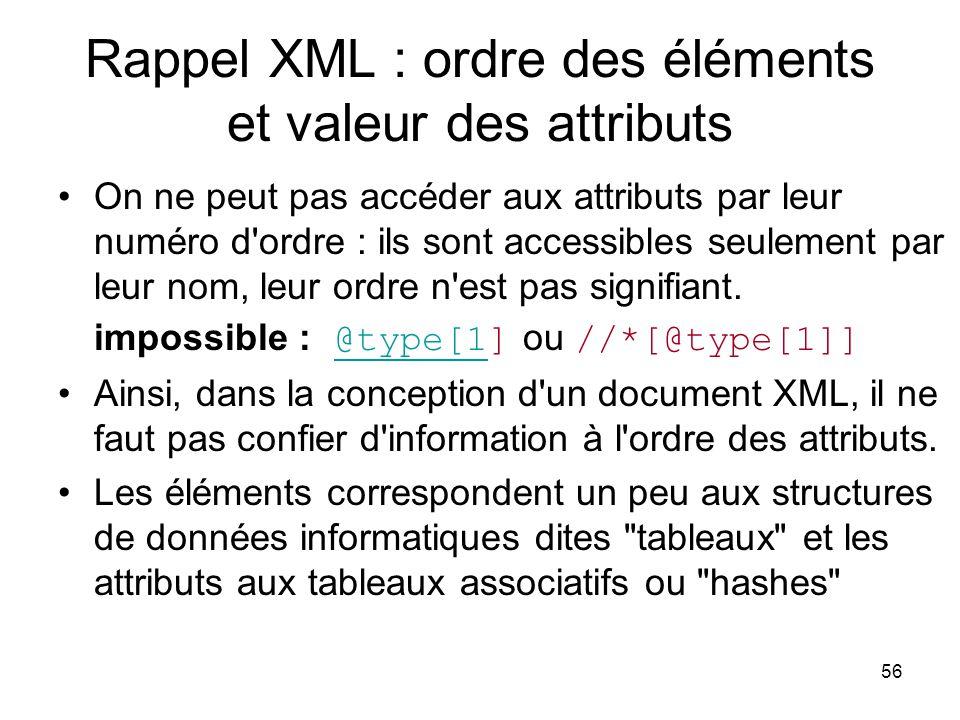 56 Rappel XML : ordre des éléments et valeur des attributs On ne peut pas accéder aux attributs par leur numéro d ordre : ils sont accessibles seulement par leur nom, leur ordre n est pas signifiant.