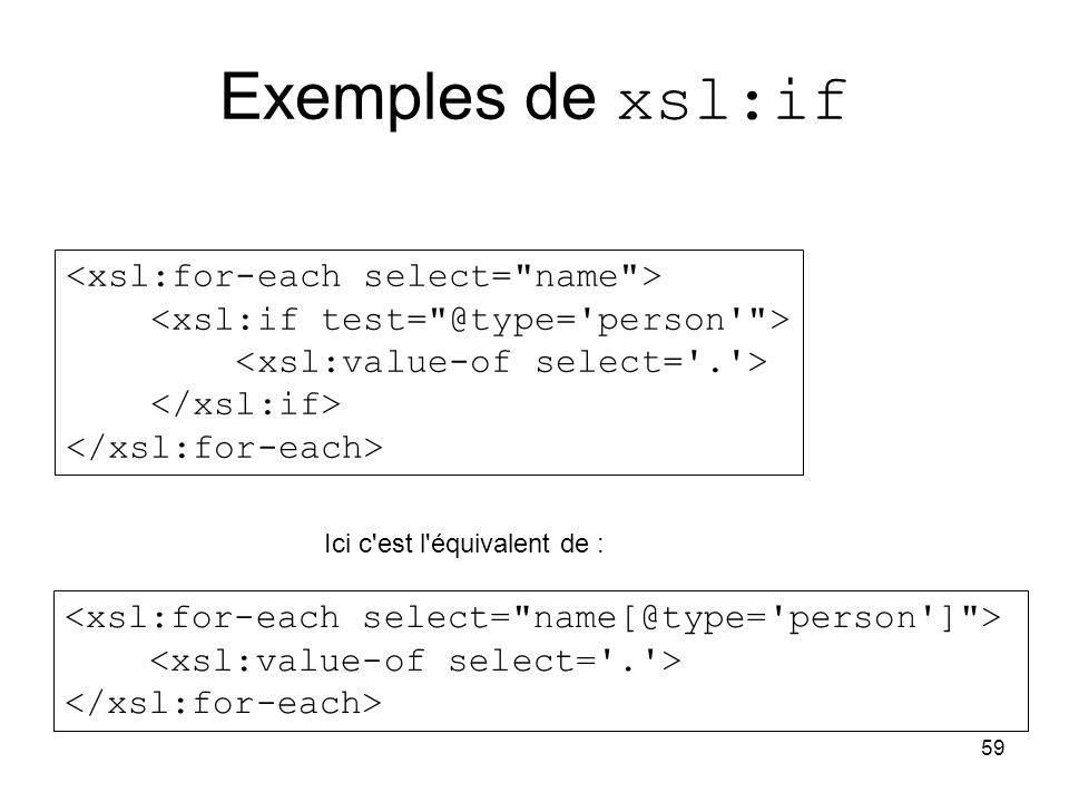 59 Exemples de xsl:if Ici c est l équivalent de :