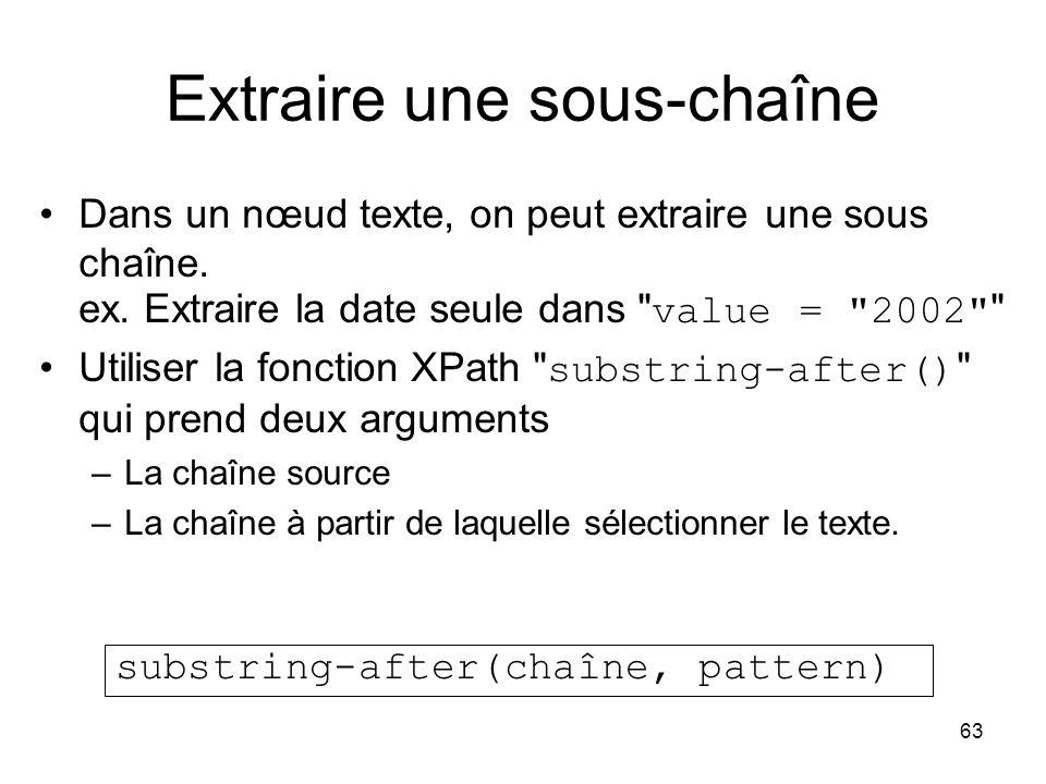 63 Extraire une sous-chaîne Dans un nœud texte, on peut extraire une sous chaîne. ex. Extraire la date seule dans