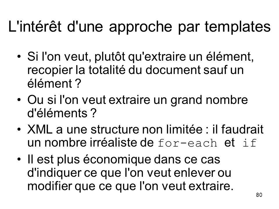 80 L'intérêt d'une approche par templates Si l'on veut, plutôt qu'extraire un élément, recopier la totalité du document sauf un élément ? Ou si l'on v
