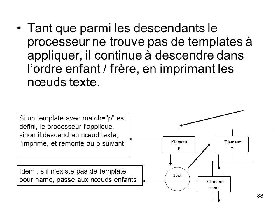 88 Tant que parmi les descendants le processeur ne trouve pas de templates à appliquer, il continue à descendre dans l'ordre enfant / frère, en imprimant les nœuds texte.