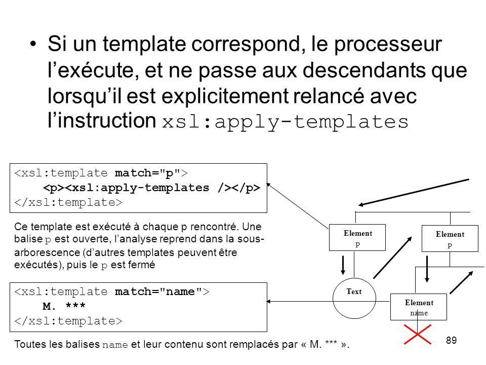 89 Si un template correspond, le processeur l'exécute, et ne passe aux descendants que lorsqu'il est explicitement relancé avec l'instruction xsl:appl