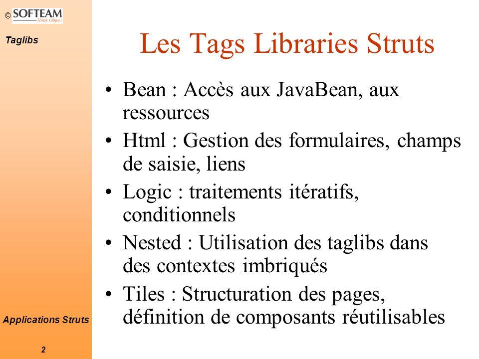 © 13 Taglibs Applications Struts La Taglib Html - Exemple Un formulaire permettant de se loguer Username : Password : Taglib Html