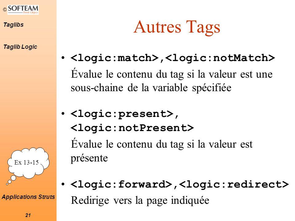 © 21 Taglibs Applications Struts Autres Tags, Évalue le contenu du tag si la valeur est une sous-chaine de la variable spécifiée, Évalue le contenu du tag si la valeur est présente, Redirige vers la page indiquée Ex 13-15 Taglib Logic