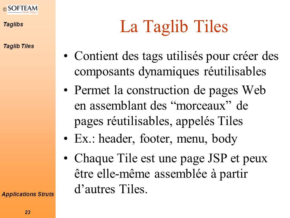 © 23 Taglibs Applications Struts Contient des tags utilisés pour créer des composants dynamiques réutilisables Permet la construction de pages Web en assemblant des morceaux de pages réutilisables, appelés Tiles Ex.: header, footer, menu, body Chaque Tile est une page JSP et peux être elle-même assemblée à partir d'autres Tiles.
