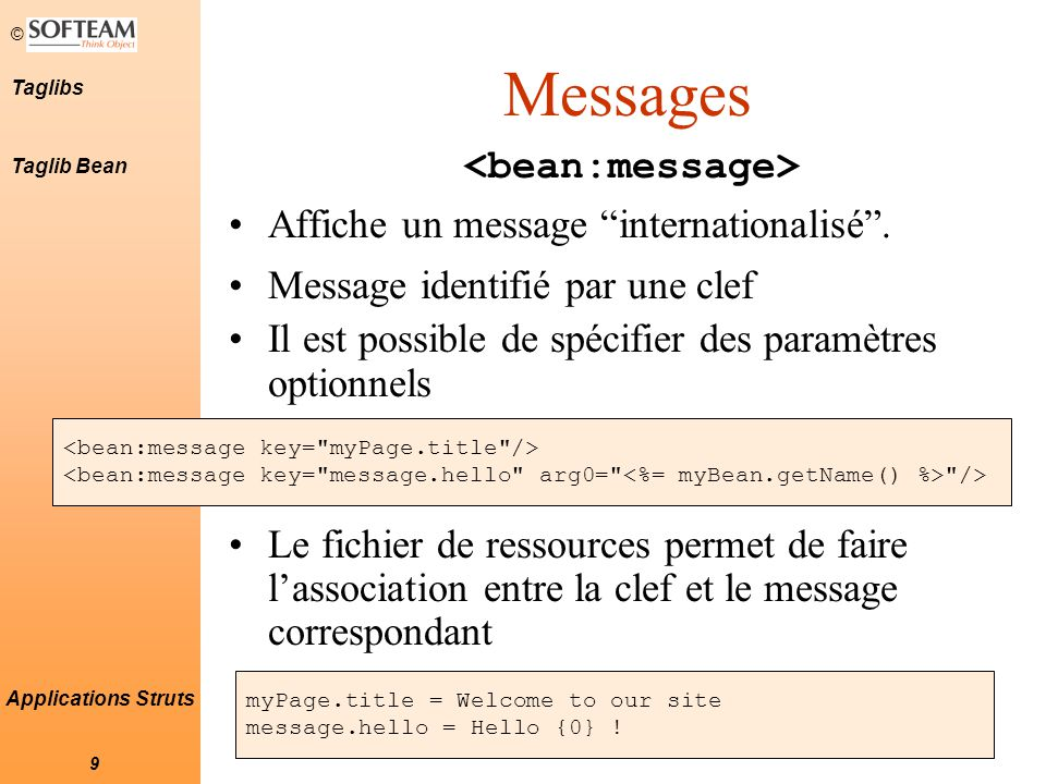 © 9 Taglibs Applications Struts Messages Affiche un message internationalisé .