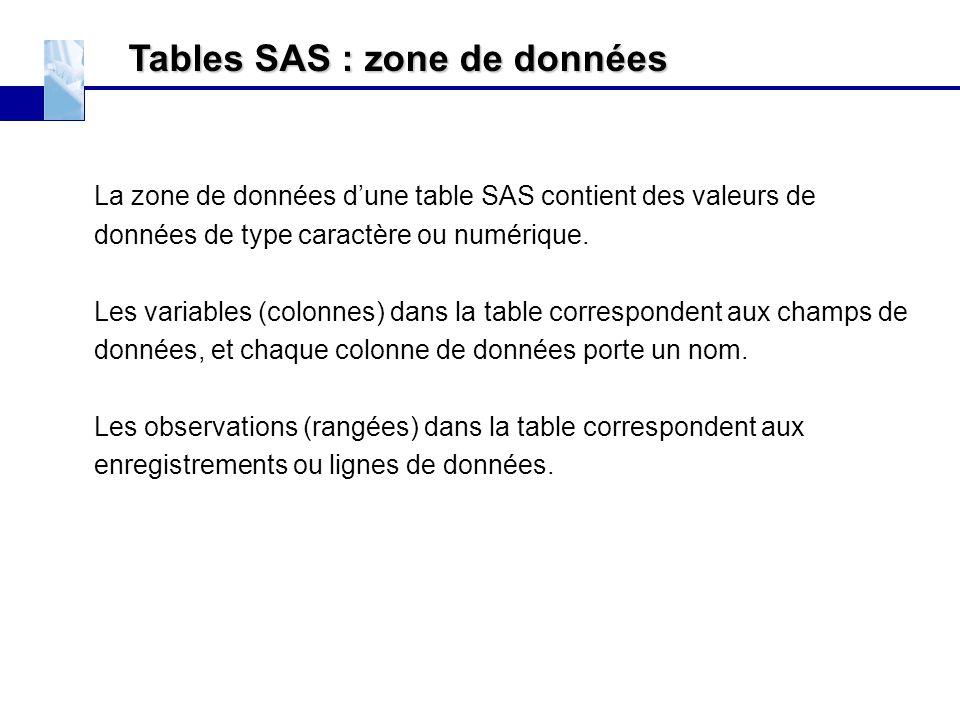 Tables SAS : zone de données La zone de données d'une table SAS contient des valeurs de données de type caractère ou numérique. Les variables (colonne