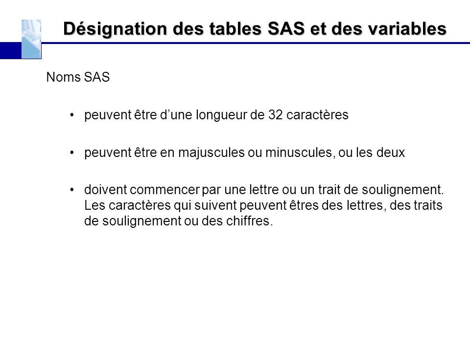 Désignation des tables SAS et des variables Noms SAS peuvent être d'une longueur de 32 caractères peuvent être en majuscules ou minuscules, ou les deu