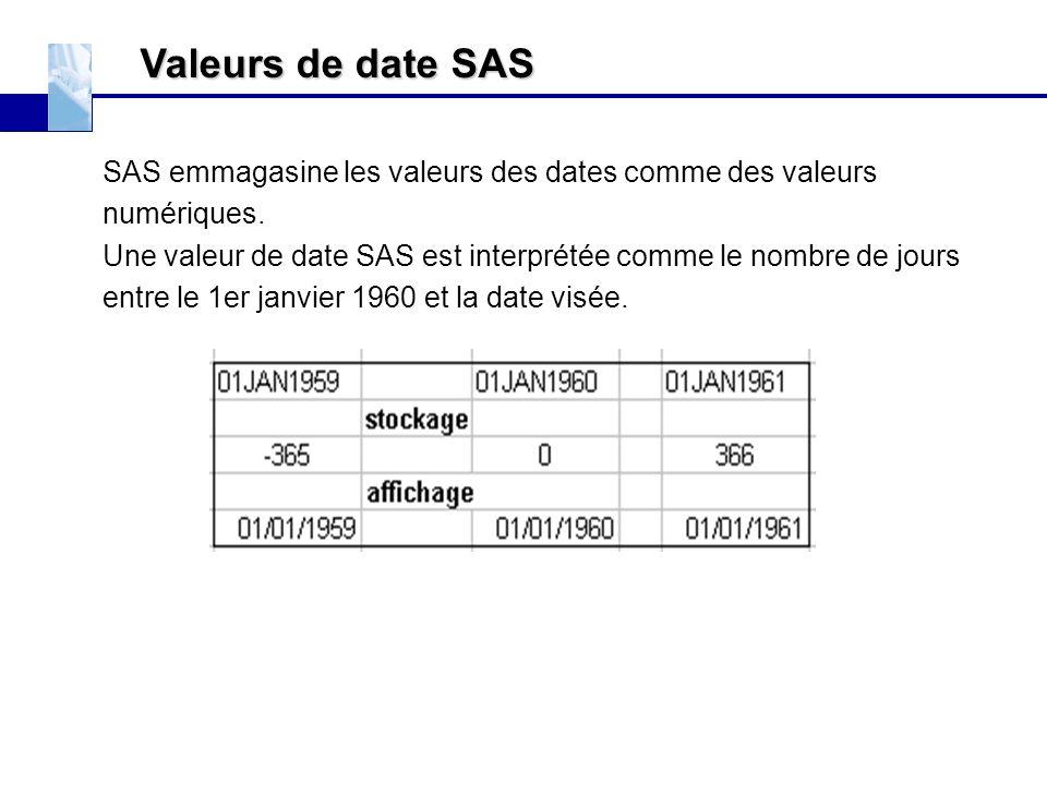 Valeurs de date SAS SAS emmagasine les valeurs des dates comme des valeurs numériques. Une valeur de date SAS est interprétée comme le nombre de jours