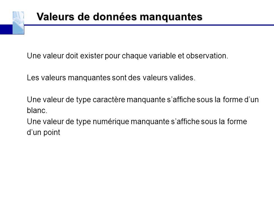 Valeurs de données manquantes Une valeur doit exister pour chaque variable et observation. Les valeurs manquantes sont des valeurs valides. Une valeur