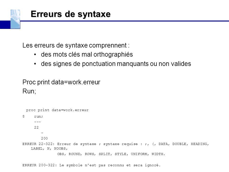 Erreurs de syntaxe Les erreurs de syntaxe comprennent : des mots clés mal orthographiés des signes de ponctuation manquants ou non valides Proc print