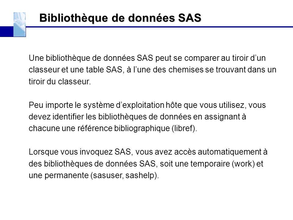Bibliothèque de données SAS Une bibliothèque de données SAS peut se comparer au tiroir d'un classeur et une table SAS, à l'une des chemises se trouvan