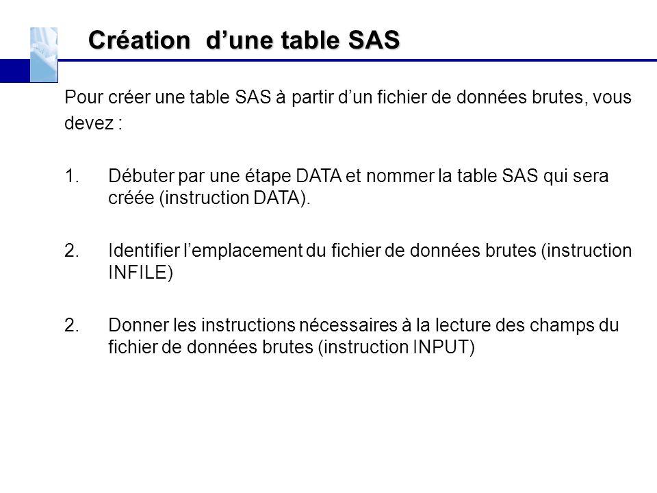 Création d'une table SAS Pour créer une table SAS à partir d'un fichier de données brutes, vous devez : 1.Débuter par une étape DATA et nommer la tabl