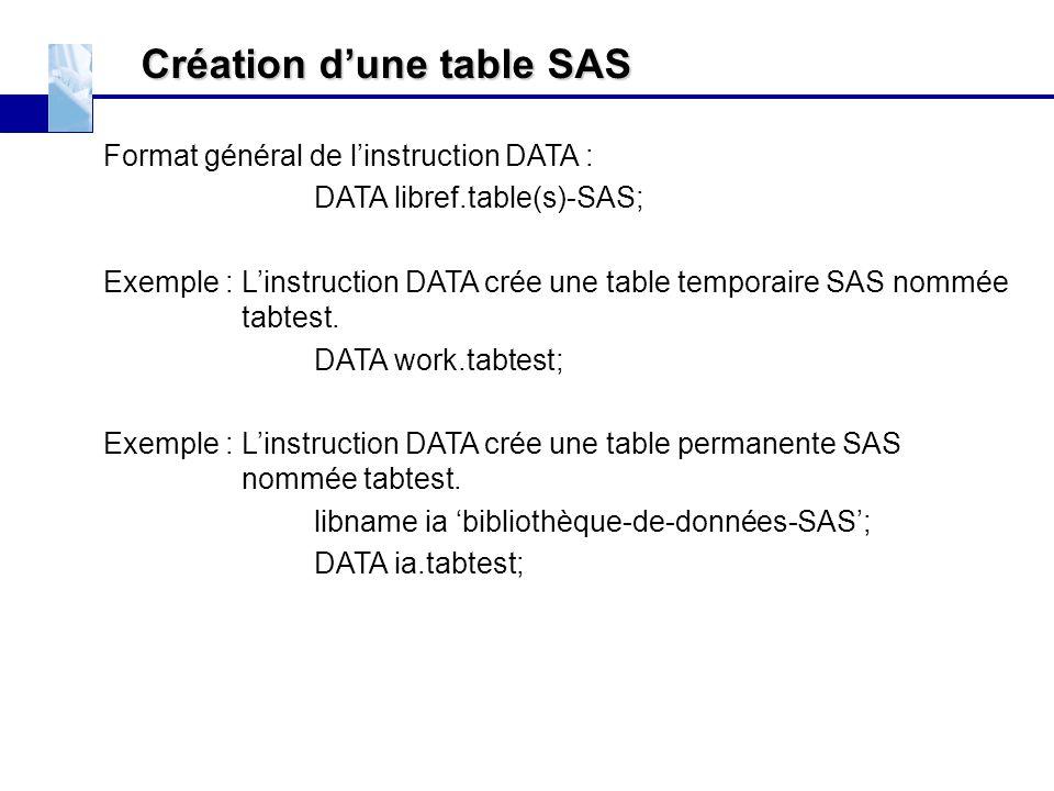 Création d'une table SAS Format général de l'instruction DATA : DATA libref.table(s)-SAS; Exemple : L'instruction DATA crée une table temporaire SAS n