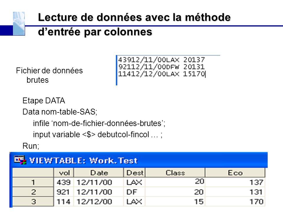 Lecture de données avec la méthode d'entrée par colonnes Fichier de données brutes Etape DATA Data nom-table-SAS; infile 'nom-de-fichier-données-brute