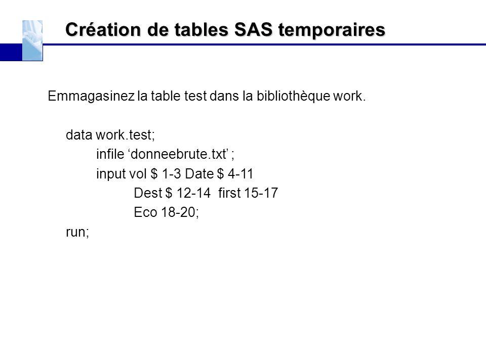 Création de tables SAS temporaires Emmagasinez la table test dans la bibliothèque work. data work.test; infile 'donneebrute.txt' ; input vol $ 1-3 Dat