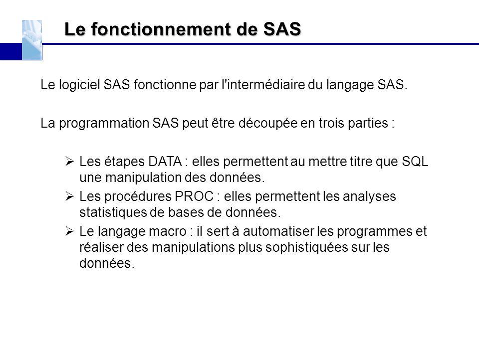 Le fonctionnement de SAS Le logiciel SAS fonctionne par l'intermédiaire du langage SAS. La programmation SAS peut être découpée en trois parties :  L
