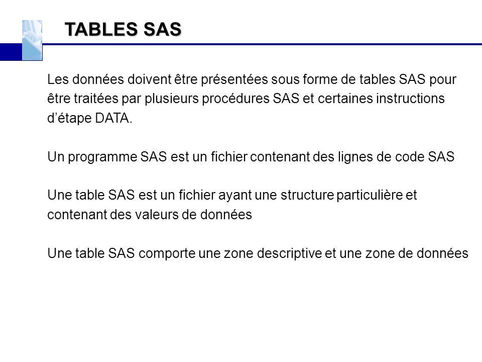 TABLES SAS Les données doivent être présentées sous forme de tables SAS pour être traitées par plusieurs procédures SAS et certaines instructions d'ét