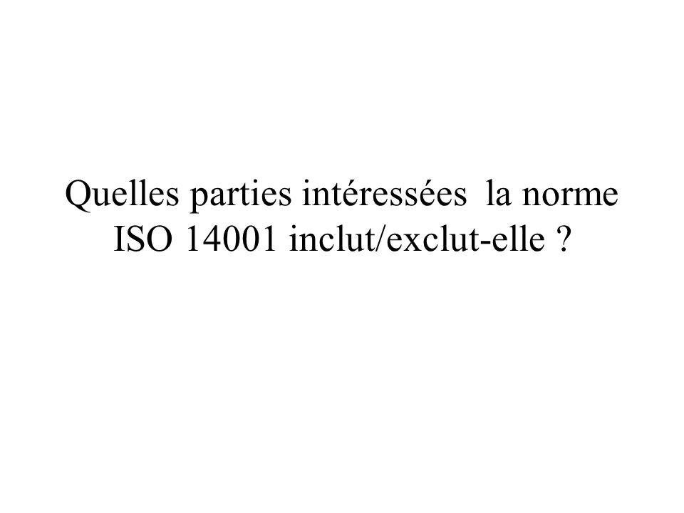 Quelles parties intéressées la norme ISO 14001 inclut/exclut-elle ?