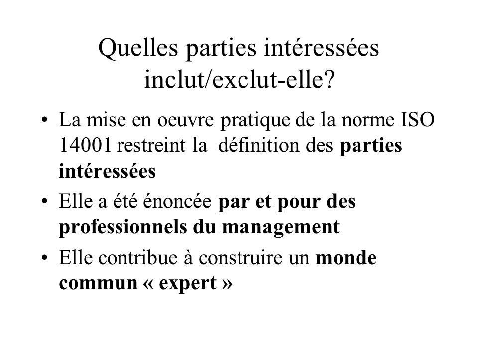Quelles parties intéressées inclut/exclut-elle? La mise en oeuvre pratique de la norme ISO 14001 restreint la définition des parties intéressées Elle