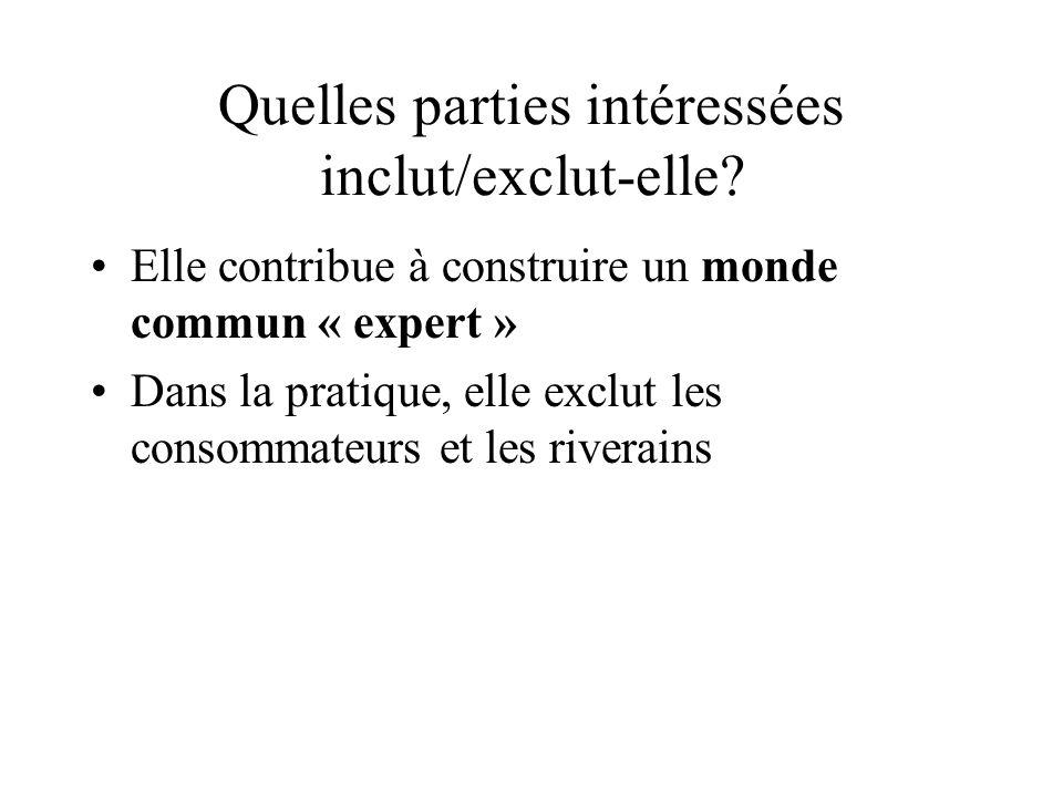 Quelles parties intéressées inclut/exclut-elle? Elle contribue à construire un monde commun « expert » Dans la pratique, elle exclut les consommateurs