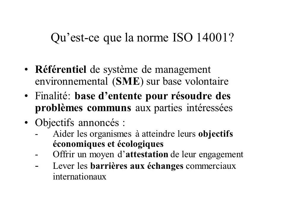 Qu'est-ce que la norme ISO 14001? Référentiel de système de management environnemental (SME) sur base volontaire Finalité: base d'entente pour résoudr