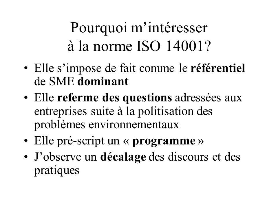 Pourquoi m'intéresser à la norme ISO 14001? Elle s'impose de fait comme le référentiel de SME dominant Elle referme des questions adressées aux entrep