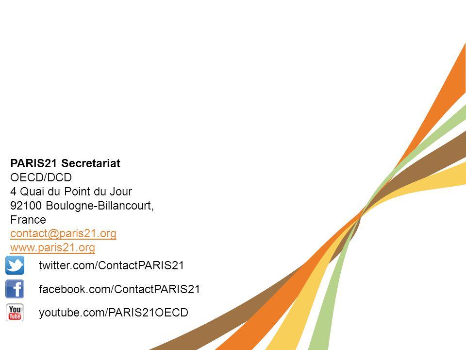twitter.com/ContactPARIS21 facebook.com/ContactPARIS21 youtube.com/PARIS21OECD PARIS21 Secretariat OECD/DCD 4 Quai du Point du Jour 92100 Boulogne-Bil