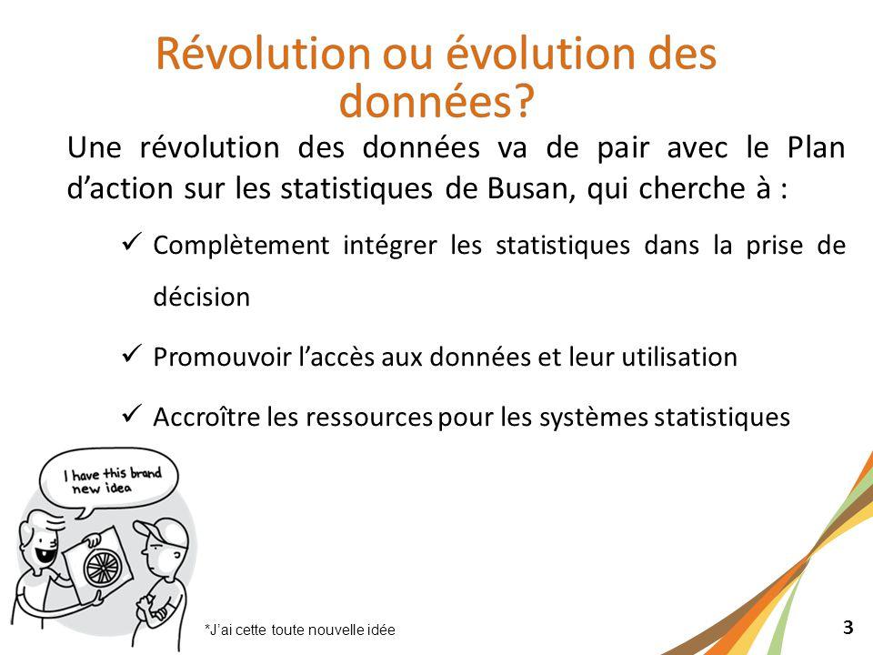 3 Une révolution des données va de pair avec le Plan d'action sur les statistiques de Busan, qui cherche à : Complètement intégrer les statistiques dans la prise de décision Promouvoir l'accès aux données et leur utilisation Accroître les ressources pour les systèmes statistiques *J'ai cette toute nouvelle idée