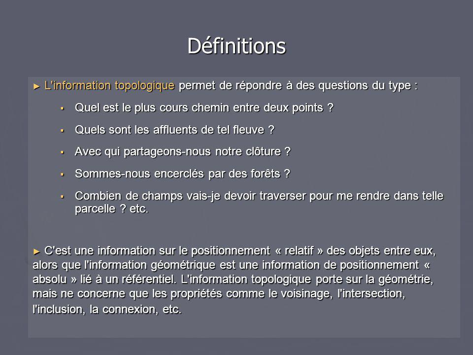 ► L information topologique permet de répondre à des questions du type :  Quel est le plus cours chemin entre deux points .