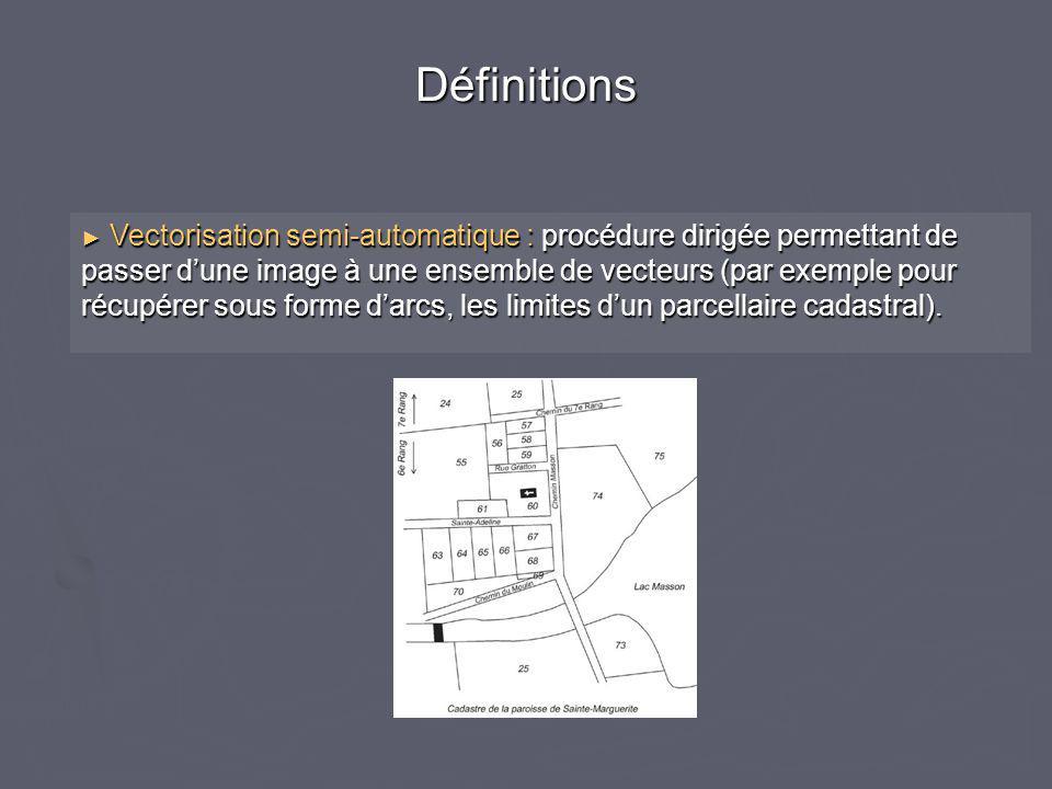 ► Vectorisation semi-automatique : procédure dirigée permettant de passer d'une image à une ensemble de vecteurs (par exemple pour récupérer sous forme d'arcs, les limites d'un parcellaire cadastral).