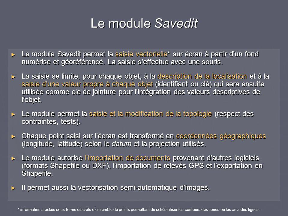 ► Le module Savedit permet la saisie vectorielle* sur écran à partir d'un fond numérisé et géoréférencé. La saisie s'effectue avec une souris. ► La sa