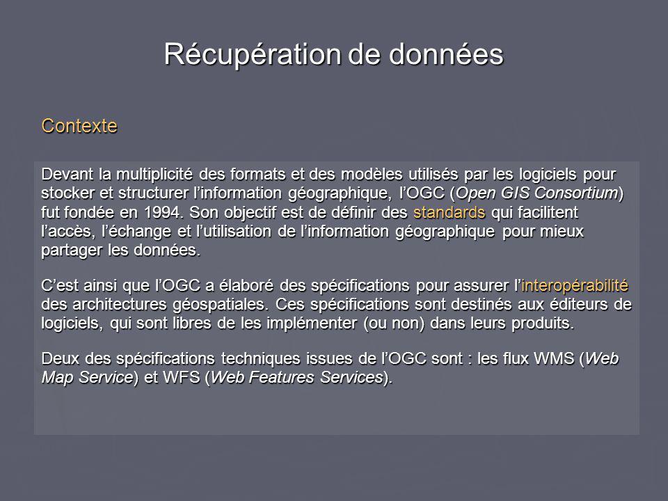 Devant la multiplicité des formats et des modèles utilisés par les logiciels pour stocker et structurer l'information géographique, l'OGC (Open GIS Co