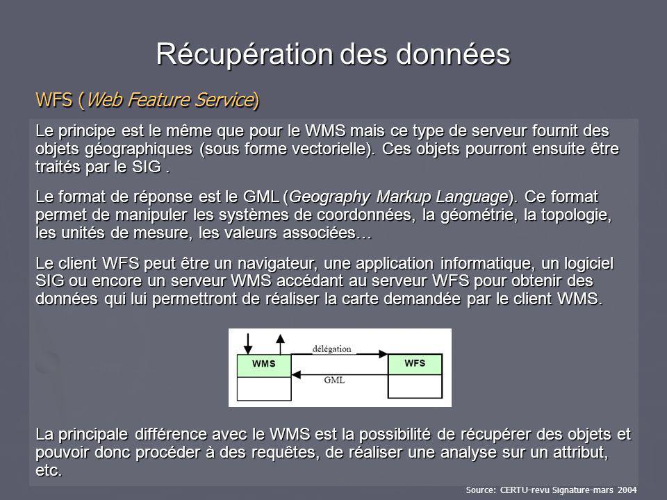 Le principe est le même que pour le WMS mais ce type de serveur fournit des objets géographiques (sous forme vectorielle). Ces objets pourront ensuite