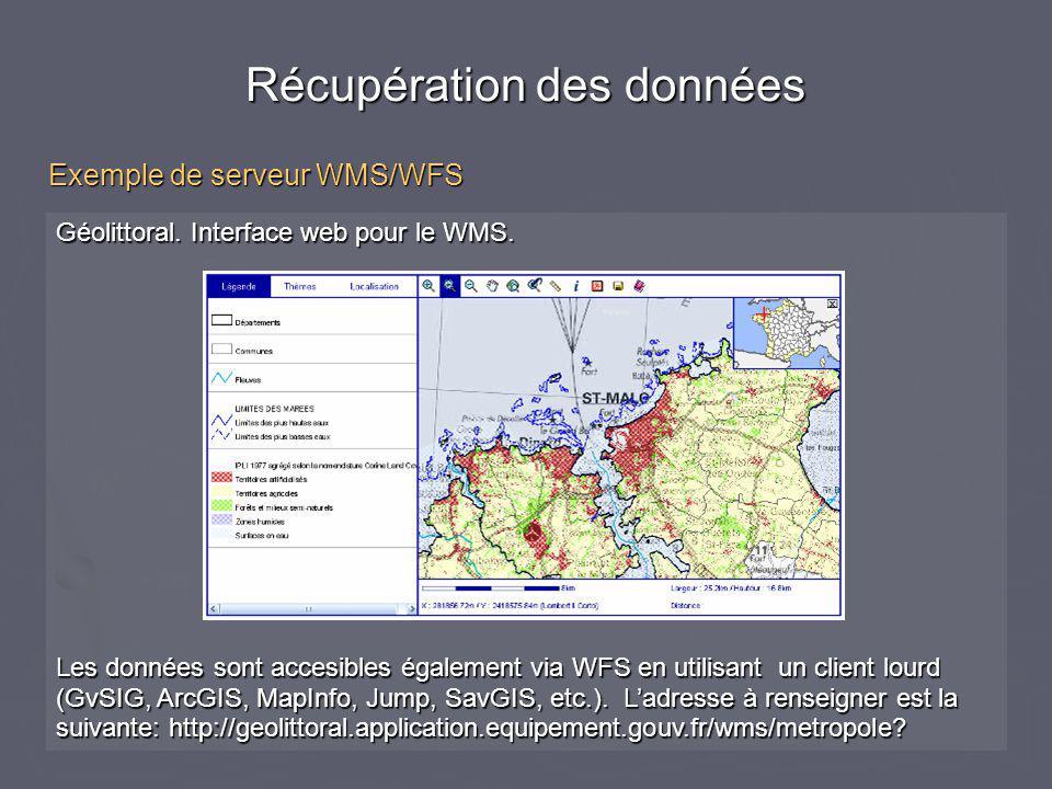 Géolittoral. Interface web pour le WMS. Les données sont accesibles également via WFS en utilisant un client lourd (GvSIG, ArcGIS, MapInfo, Jump, SavG