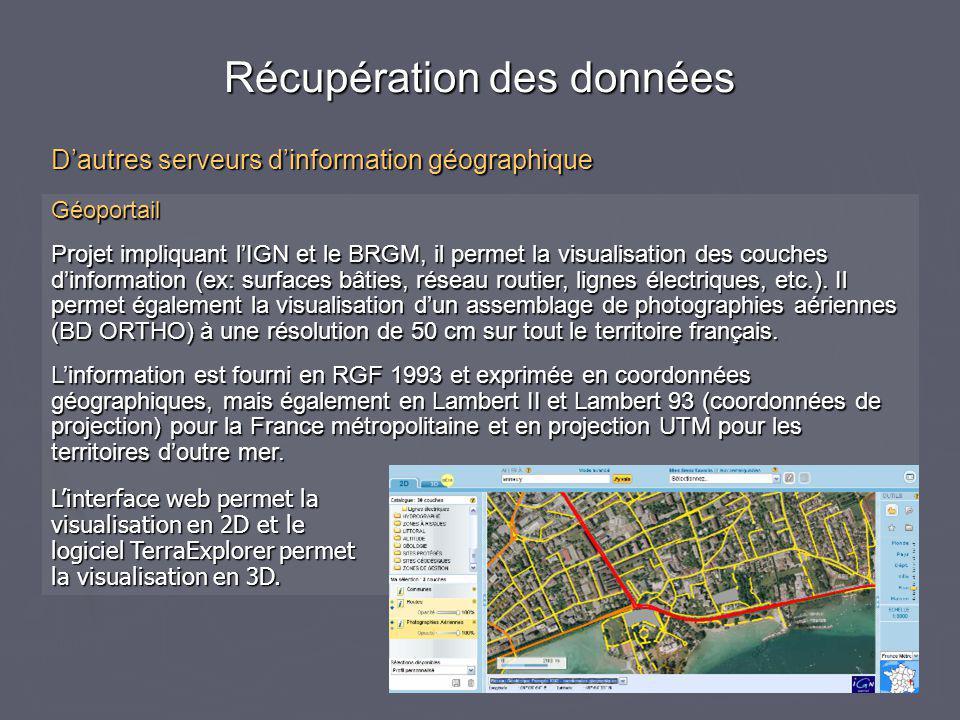 Géoportail Projet impliquant l'IGN et le BRGM, il permet la visualisation des couches d'information (ex: surfaces bâties, réseau routier, lignes électriques, etc.).