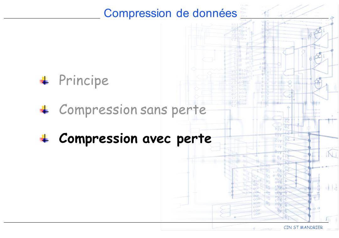 CIN ST MANDRIER Compression de données Principe Compression sans perte Compression avec perte