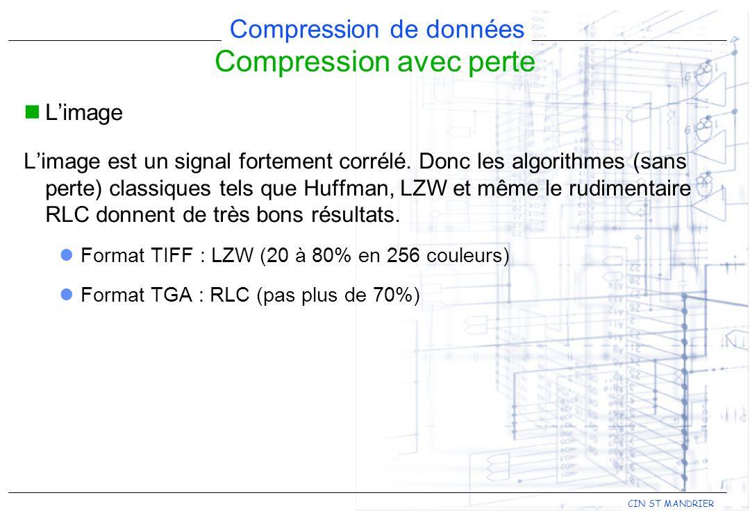 CIN ST MANDRIER Compression de données Compression avec perte L'image L'image est un signal fortement corrélé. Donc les algorithmes (sans perte) class